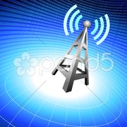 Radio tower icon waves on blue wire globe background - stock photo