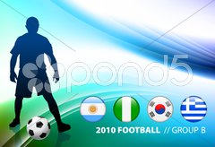 World Soccer Football Group B on Abstract Color Background Stock Illustration