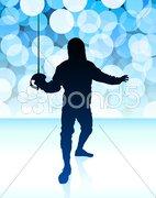 Fencer on Blue Lens Flare Background - stock illustration