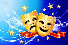 Comedy and Tragedy Masks on Abstract Modern Light Background Stock Illustration