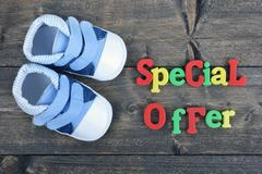 Special offer on wooden table Stock Photos