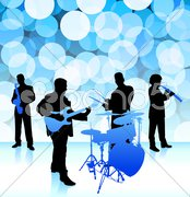 live music band on lens flare internet background - stock illustration