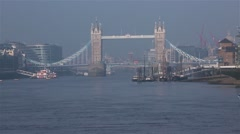 City Cruises tour boat, Tower Bridge in far behind. Stock Footage