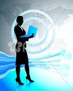 Business woman with laptop on world map Stock Illustration