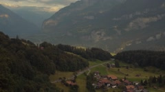 Unusual shot of the village in the green mountains, shots stabilizer. Furka Pass Stock Footage