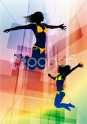 Sexy Young Women Jumping on Abstract Background Stock Illustration