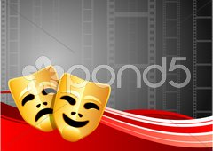 Comedy and Tragedy Masks on Film Reel Background Piirros