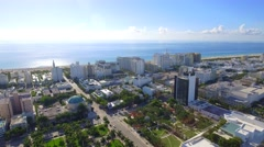 Aerial footage of Miami Beach hotels Stock Footage