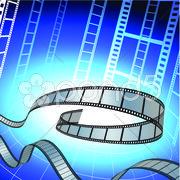 Popcorn and Soda on Film Strip Background Stock Illustration