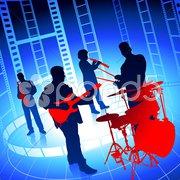 Live Music Band on Film Reel Background - stock illustration