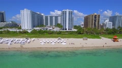 Flying by of Miami Beach shores aerial Stock Footage