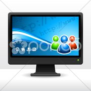 Computer Desktop Monitor Stock Illustration