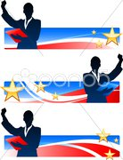 Executive Businesswomen with Patriotic Banners Stock Illustration
