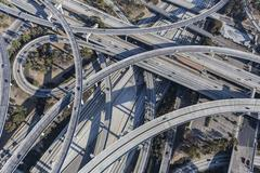 Los Angeles 110 and 105 Freeway Interchange Ramps Aerial Stock Photos