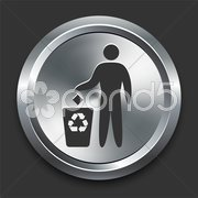 Pollution Symbol Icon on Metal Internet Button Stock Illustration
