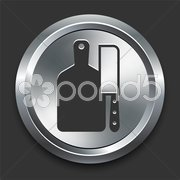 Cutting Board Icon on Metal Internet Button Stock Illustration