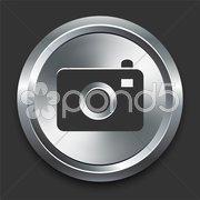 Camera Icon on Metal Internet Button Stock Illustration