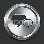 Chat Icon on Metal Internet Button Stock Illustration