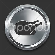 Chicken Icon on Metal Internet Button Stock Illustration