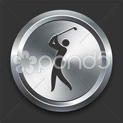 Golf Icon on Metal Internet Button - stock illustration