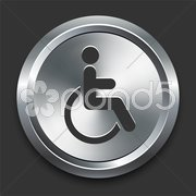Handicapped Icon on Metal Internet Button Stock Illustration