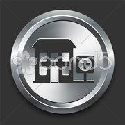 Hospital Icon on Metal Internet Button Stock Illustration
