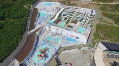 Budva, Montenegro - August 15, 2016: Aerial view of aqua park in Budva Stock Footage