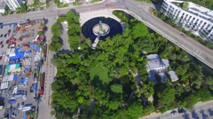 Miami Beach Holocaust Memorial aerial video Stock Footage