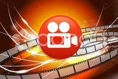 Film Camera Button on Abstract Modern Light Background - stock photo