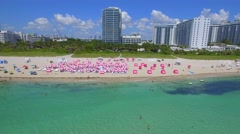 Low altitude aerial of Miami Beach - stock footage