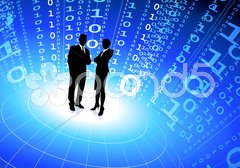 Business team with binary code internet background Stock Illustration