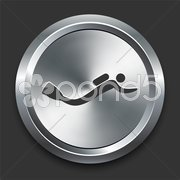 Scuba Diving Icon on Metal Internet Button Stock Illustration