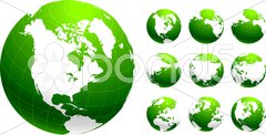 Green Globe Environmental Conservation Background - stock illustration