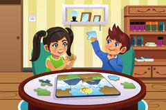 Kids Solving Puzzles Stock Illustration