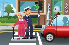 Policeman Helping Grandma Crossing the Street Stock Illustration