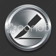 Blade Icon on Metal Internet Button - stock illustration