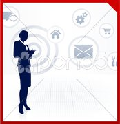 Businesswoman accessing internet on cell phone Stock Illustration