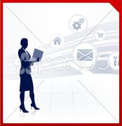 Businesswoman working accessing internet on laptop Stock Illustration