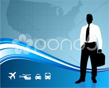 Business traveler on global communication background - stock photo