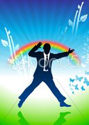 Excited businessman jumping on rainbow background Stock Illustration