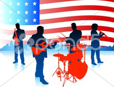 Live Music Band with American Flag Stock Illustration
