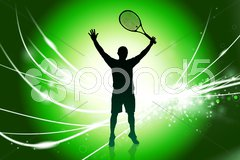 Tennis Player on Abstract Modern Light Background Stock Illustration