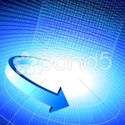 binary code internet background with blue arrow - stock illustration