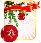 Holiday background with Christmas Ornament and tree Stock Illustration