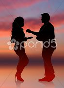 Sexy man and woman dancing sunset internet background Stock Illustration