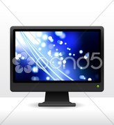 Computer monitor with fiber optic internet background Stock Illustration