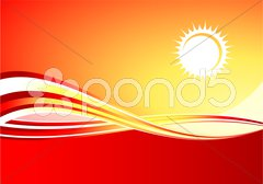 Red hot sun background Stock Illustration