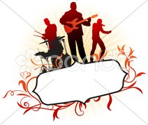 Musical Band on Abstract Tropical Frame Background Stock Illustration