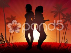Sexy Young Women on Sunset Background - stock illustration