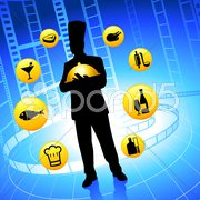 Chef on film reel background with internet buttons Stock Illustration